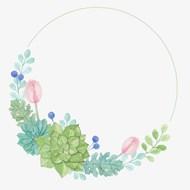 彩手绘绿色植物边框矢量下载