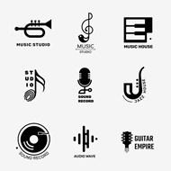 黑白音乐主题徽标矢量素材