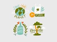 绿色环保环保徽章矢量模板