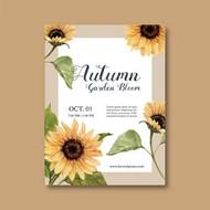 秋季植物主题海报矢量素材