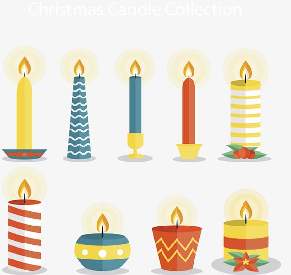 彩色圣诞蜡烛矢量素材下载