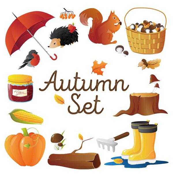 秋季元素矢量图下载