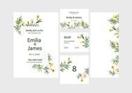 水彩花卉婚礼请柬矢量图下载