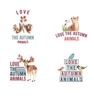 秋天和动物标志矢量图片