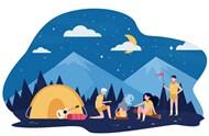 山林野营儿童矢量模板