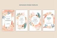 水彩画波西米亚婚礼卡片矢量图下载