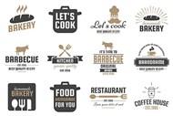 咖啡与烘焙店铺等标签矢量模板