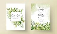 绿叶婚礼邀请卡矢量模板