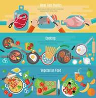 手绘健康美食横幅矢量模板