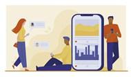 智能手机用户在线聊天矢量模板