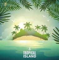 热带岛屿自然海报矢量图