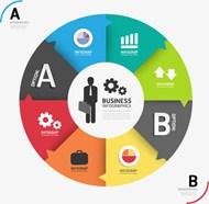商务圆环信息图表矢量模板
