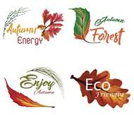 水彩秋季标志矢量图片