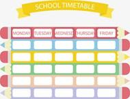 彩色铅笔课表矢量图