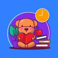 看书的小熊矢量模板