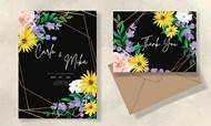 黑色花卉婚礼邀请函矢量图