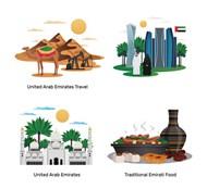 阿联酋旅游插图矢量模板