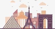 巴黎景点建筑剪影矢量图片