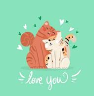 手绘情侣卡通猫矢量素材
