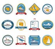 邮轮旅行社旅游标签矢量图下载