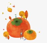 水彩秋天柿子矢量模板