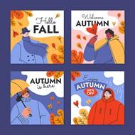 手绘平面秋季卡片矢量模板