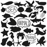海洋动物剪影矢量素材下载