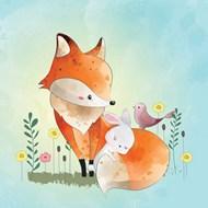 水彩狐狸和兔子矢量图下载