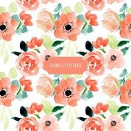 花卉水彩无缝背景矢量模板