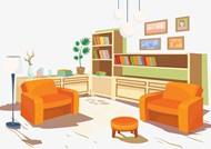 书房沙发矢量图片