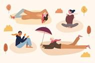 公园休闲人物插图矢量素材