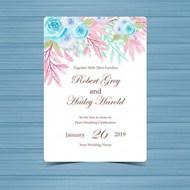 水彩花卉婚礼邀请卡矢量素材下载