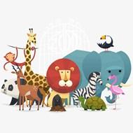 一群动物插画矢量图
