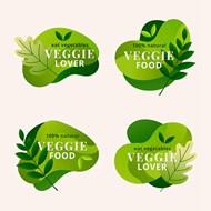 绿色健康食物标签矢量模板